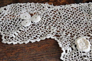 Vintage 1920s Ivory Lace Yoke Collar Tatted Crochet