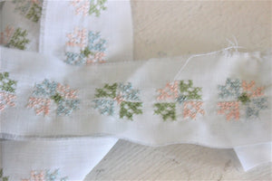 Vintage Floral Trim, Cross-Stitch Embroidery In Blue Pink Green And White