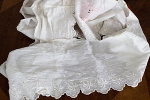 Vintage Victorian Edwardian White Wide Embroidered Lace