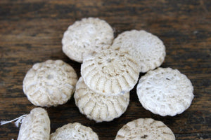 Antique Buttons, Crochet Covered One Inch In Ivory, Set Of Nine