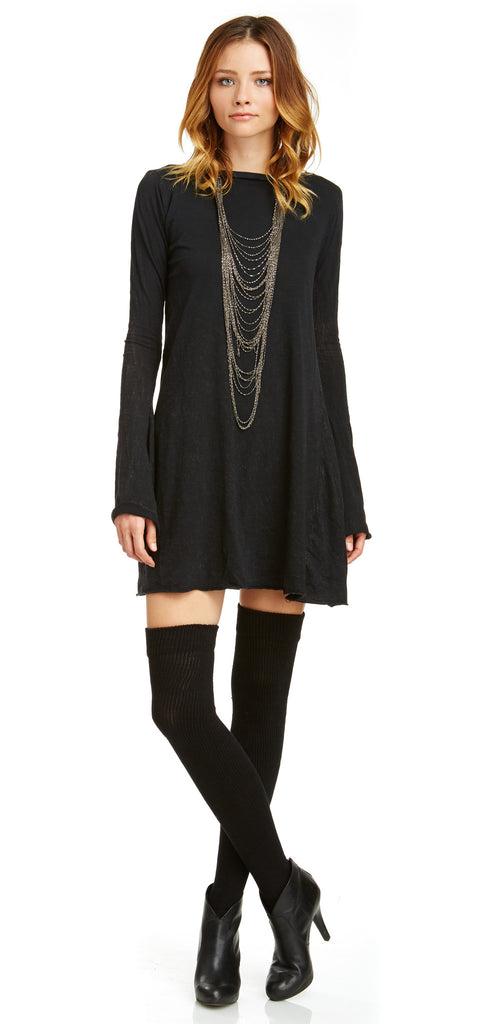 Mark and Estel Slub Belled Mini Dress Black Small