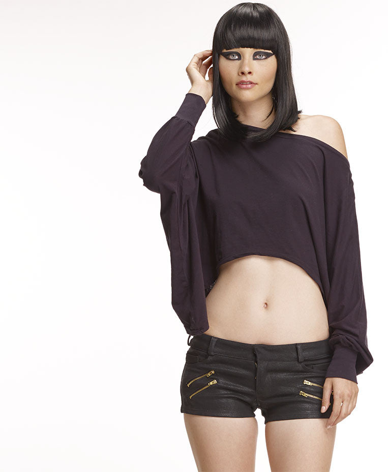 MARK AND ESTEL / Jersey High Low Slouch Top / Black, X-Small