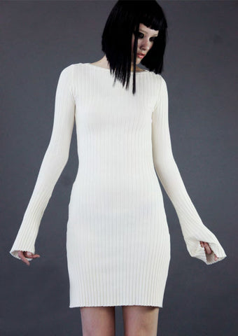 Mark and Estel / V Neck 3/4 Sleeve Gown White Large