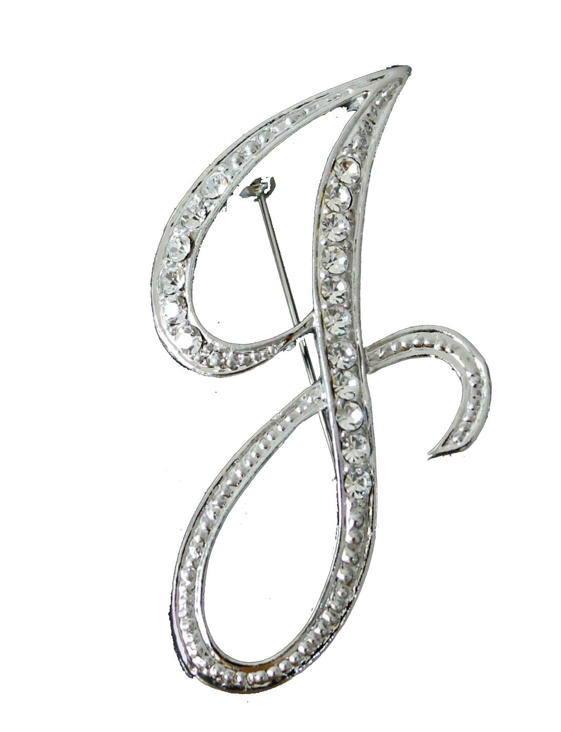 "LIMITED EDITION JAN & FRANK - Jan Day's Famous ""J"" Rhinestone Pin"