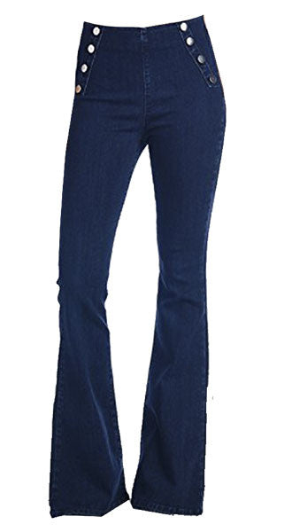 Dark Blue Sailor Button Flares (Size 25 -30)
