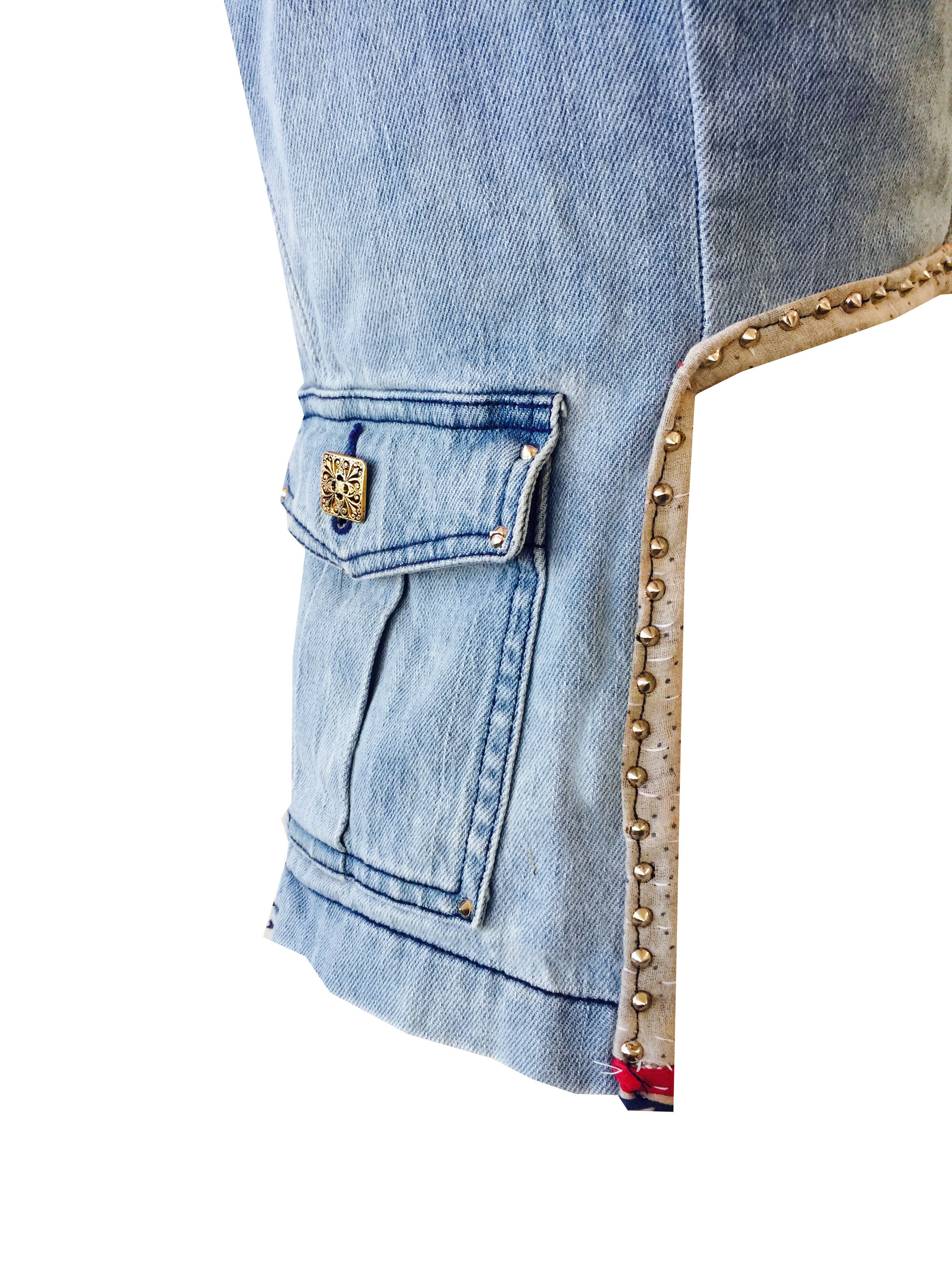 "Redesigned Tommy Hilfiger by Mark and Estel- ""The Denim Studded Cropped Pocket Blazer"""