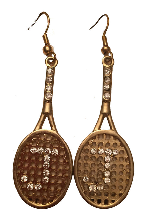 "ONE-OF-A-KIND JAN & FRANK TENNIS RACQUET RHINESTONE ""J"" EARRINGS (1 AVAILABLE)"