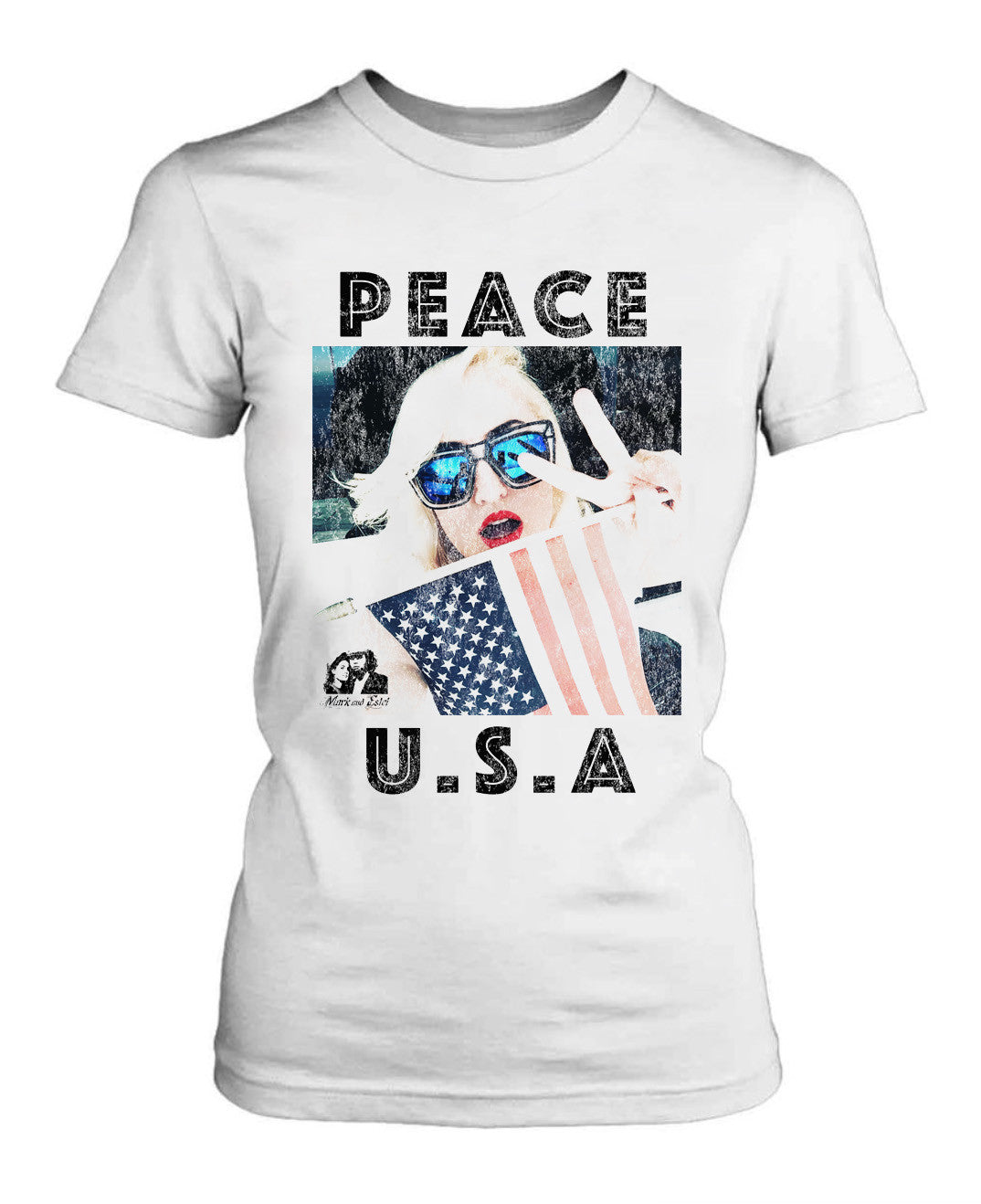 MARK AND ESTEL DISTRESSED PEACE USA TEE SHIRT