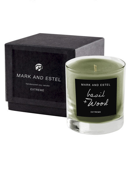 Mark and Estel EXTREME Scented Soy Candle - Basil + wood