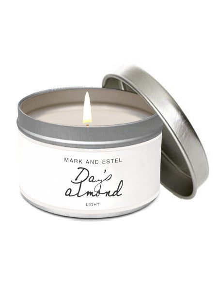 Mark and Estel LIGHT Scented 6oz Tin Soy Candle - Day's Almond