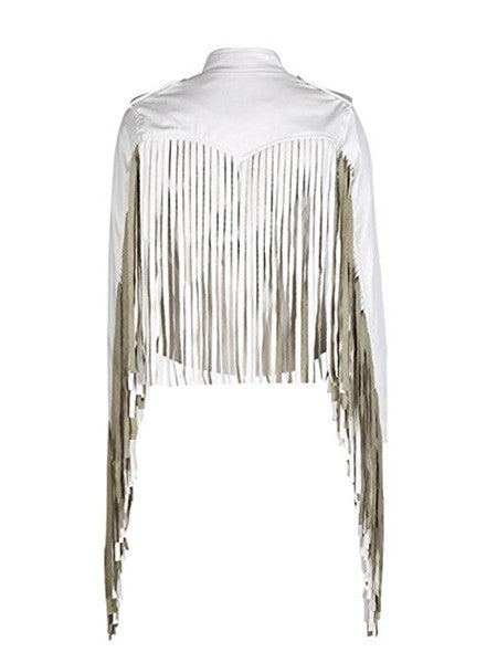 Totally Vegan Super Long Fringe White Party Coat