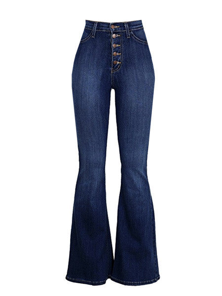 Dark Wash High Rise JANIS Button Flare Bellbottom Jeans (XSmall- Medium)