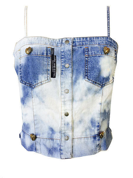 "SOLD OUT! Redesigned Ralph Lauren's ""Lauren Jeans Co."" by Mark and Estel- ""Love Clouds Denim Bustier"""