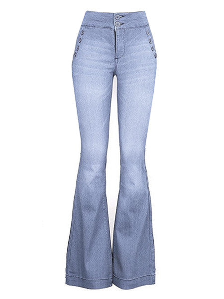 Janis Light Wash Button High Rise Bellbottom Jeans