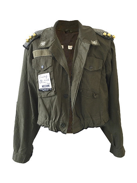 "SOLD! Redesigned Moschino & Italian Military Jacket by Mark and Estel- ""The Italian Tuxedo Army Jacket"""