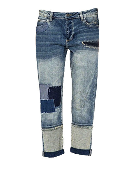Woodstock Patchwork Cropped Boyfriend Jeans (Sizes 2 - 12)
