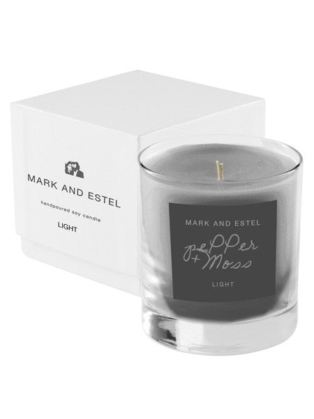 Mark and Estel LIGHT Scented Soy Candle - pePPer + moss