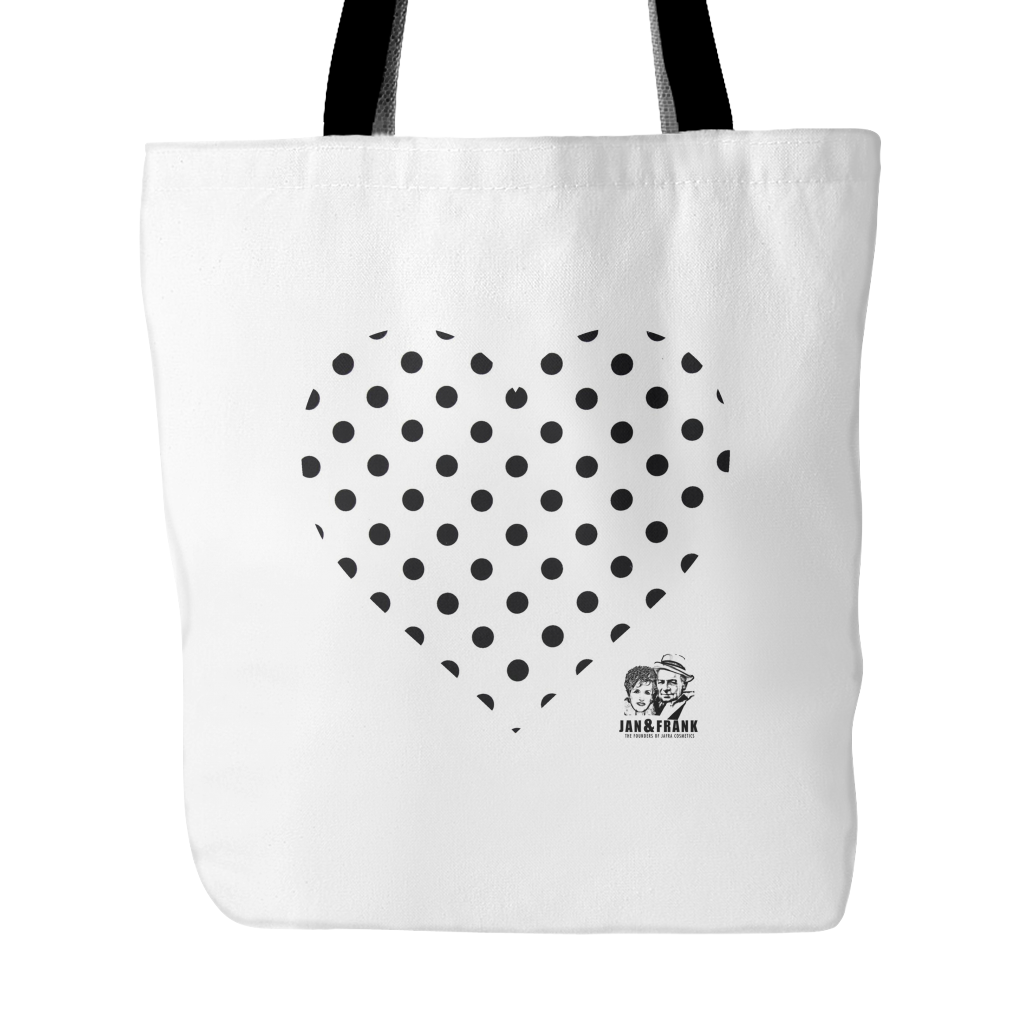 LIMITED EDITION JAN & FRANK WHITE TOTE WITH POLK-A-DOT HEART