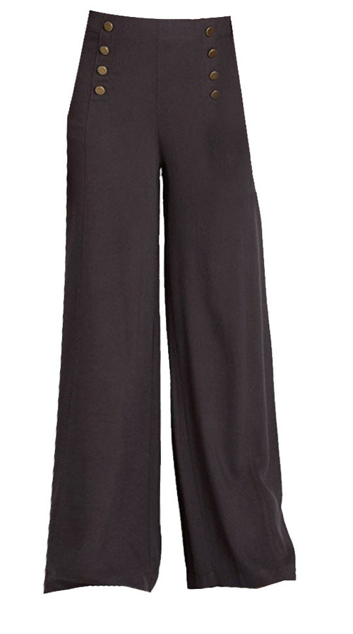 Sailor Wide Leg Trousers in Charcoal