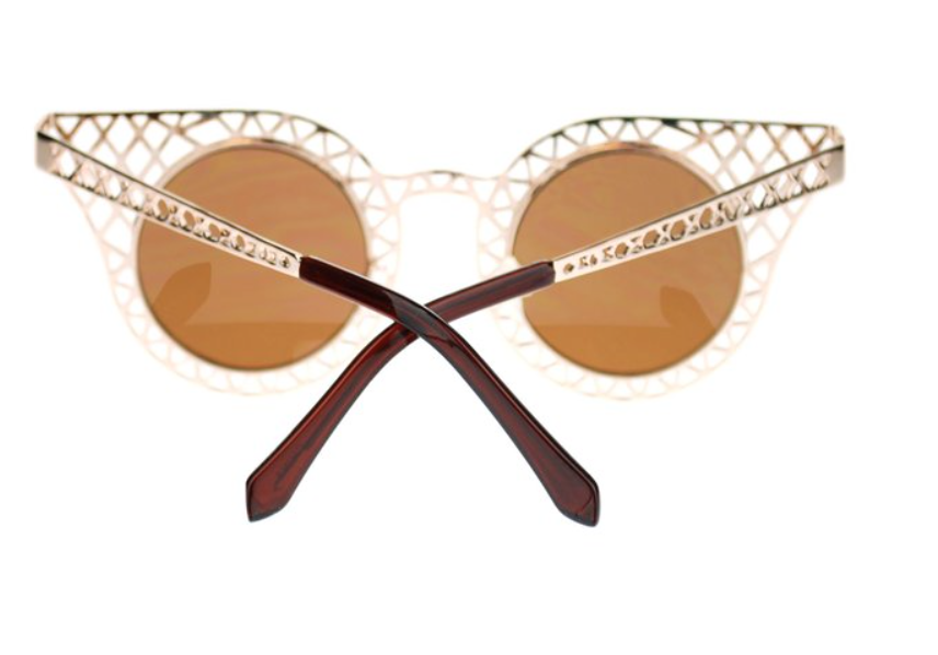 Gold Cut-Out Metal Frame Sunglasses with Caramel Lenses (FREE SHIPPING- Code: SHIPFREE)
