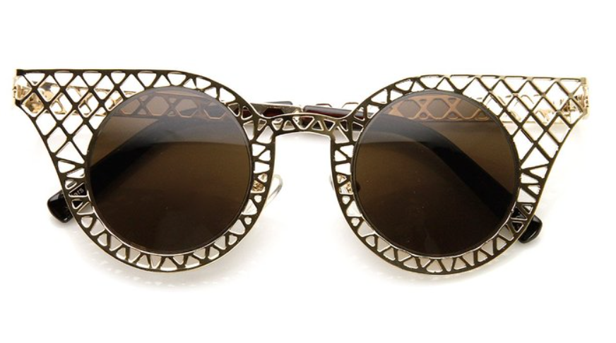 Cut-Out Gold Metal Frame Sunglasses with Chocolate Lenses (FREE SHIPPING- Code: SHIPFREE)