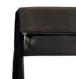 Black Genuine Leather Julie Fringe Clutch