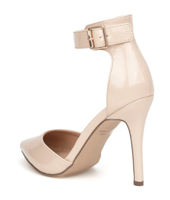 Ankle Strap Patent Leather Heel in Nude