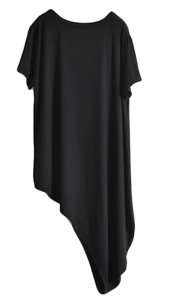 Asymmetrical Tee in Charcoal (Loose- One Size)
