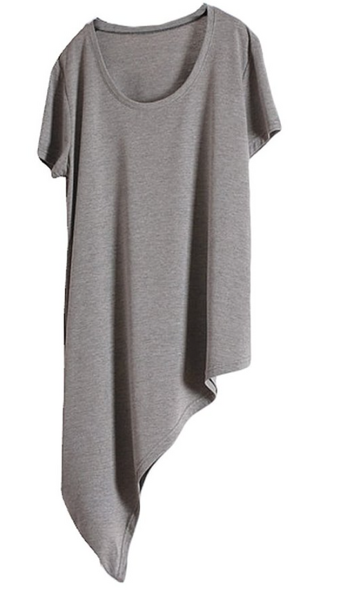 Asymmetrical Tee in Heather Grey (Loose- One Size)