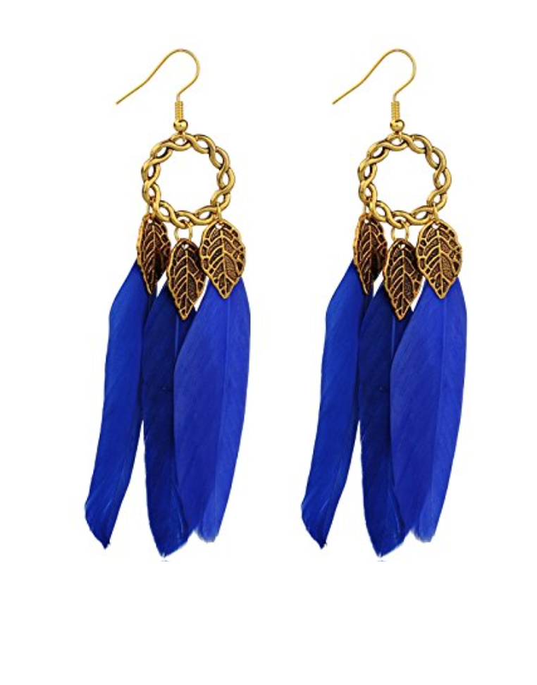 Feather Evening Earrings in Emerald, Royal, or Black