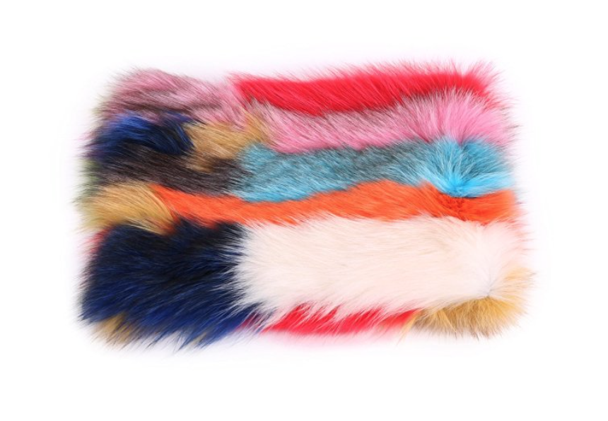 Hand Dyed Fox Fur Rainbow Clutch