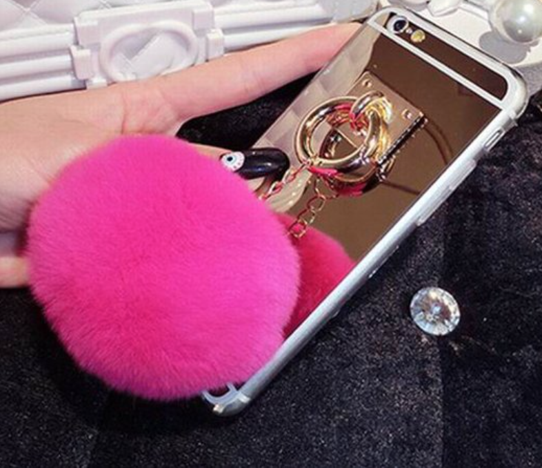 Goldie Locks i-Phone 6 Case with Mirror & Pom Poms (Black, Pink, Fuchsia)