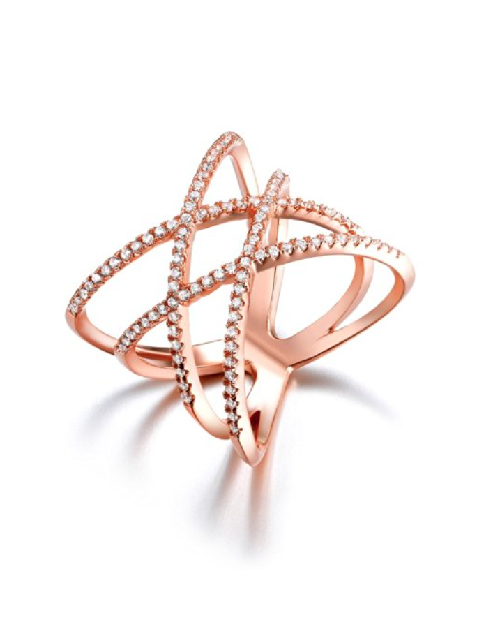 Rose Gold Double Cross Ring 18K Gold Plated