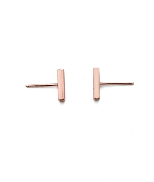 Rose Gold Mini Bar Stud Earrings 24K Gold Plated