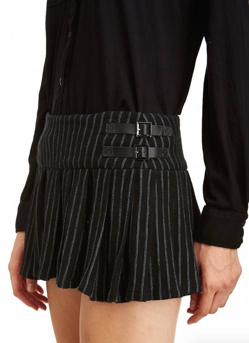 Mark and Estel Collection Pinstripe Pleated Mini Skirt