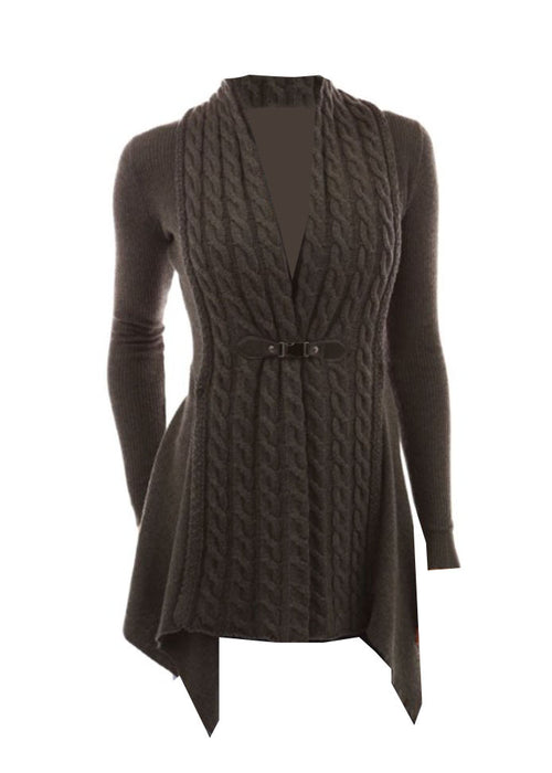 Braided Cable Knit Sweater in Dark Grey with Clasp (S - XLarge)