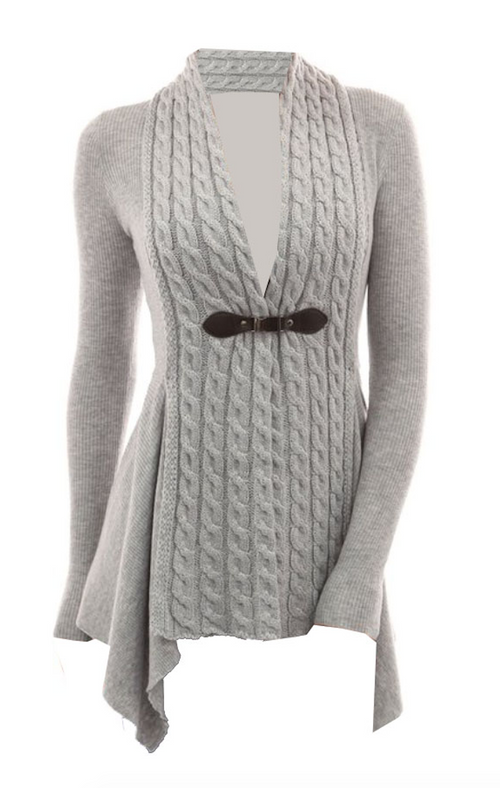 Braided Cable Knit Sweater in Heather with Clasp (S - XLarge)