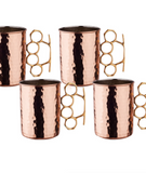 Set of 4 Brass Knuckle Rose Gold Mugs for ROCKSTARS