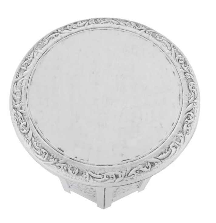 Moroccan Wooden Folding Accent Table in White