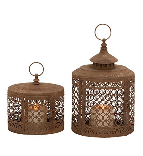 Set of 2 Old Amazing Antique Moroccan Metal Cut Out Candle Holder