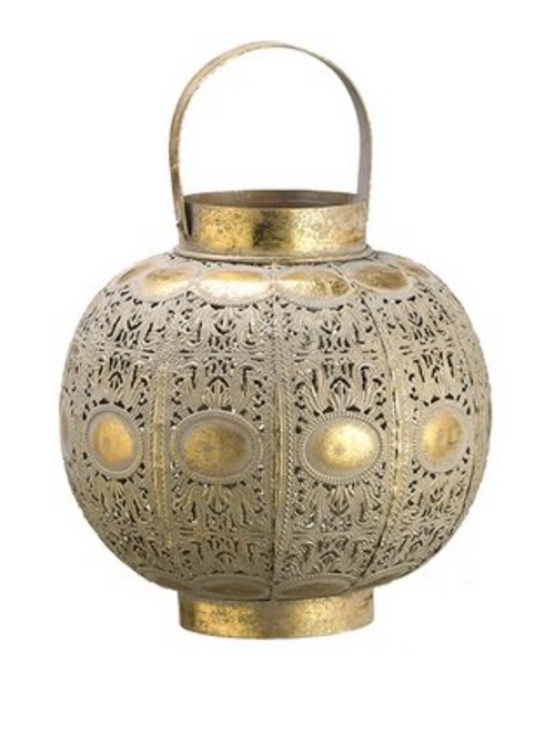 10' Distressed Gold Glass Moroccan Candle Holder