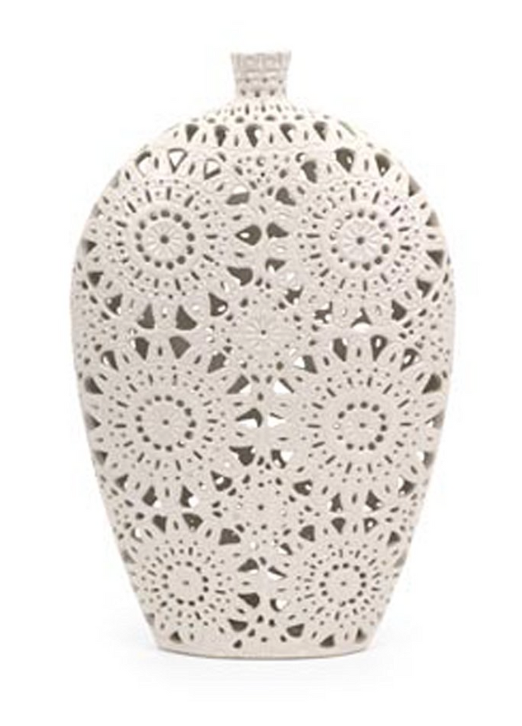 Large White Decorative Lace Vase for Twigs