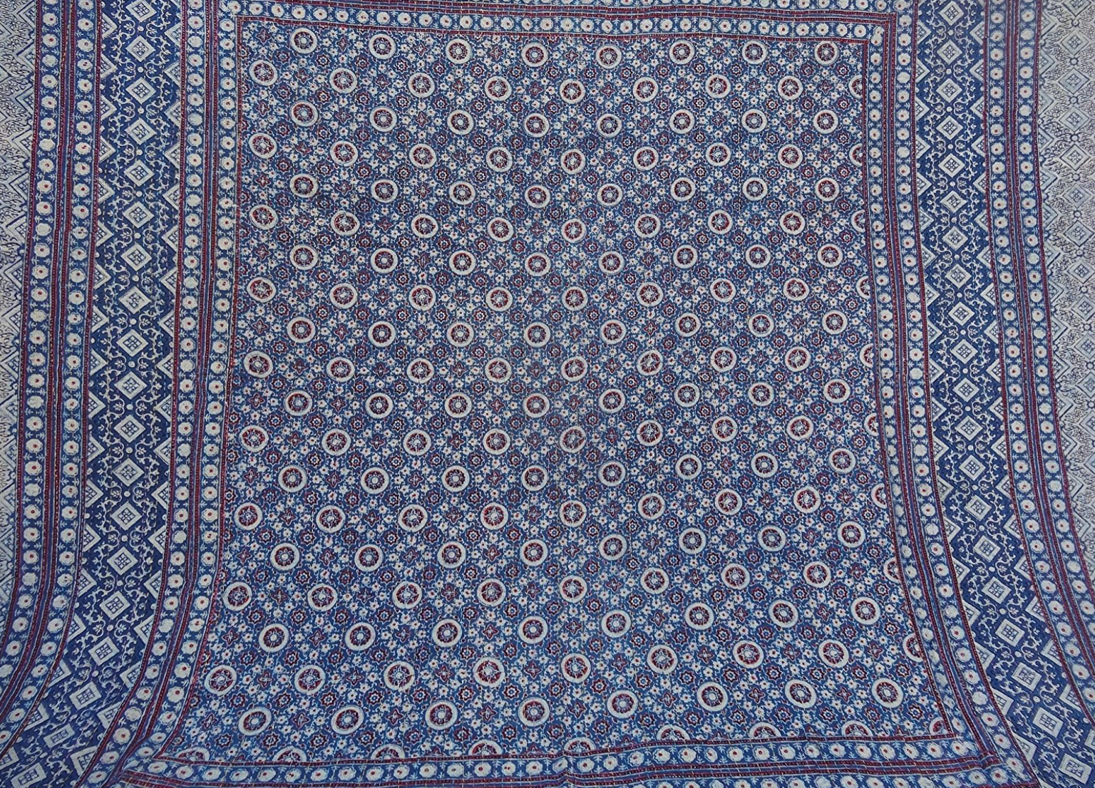 "One of a kind Handmade Indigo Moroccan Quilt 90"" x 180"" (Queen)"