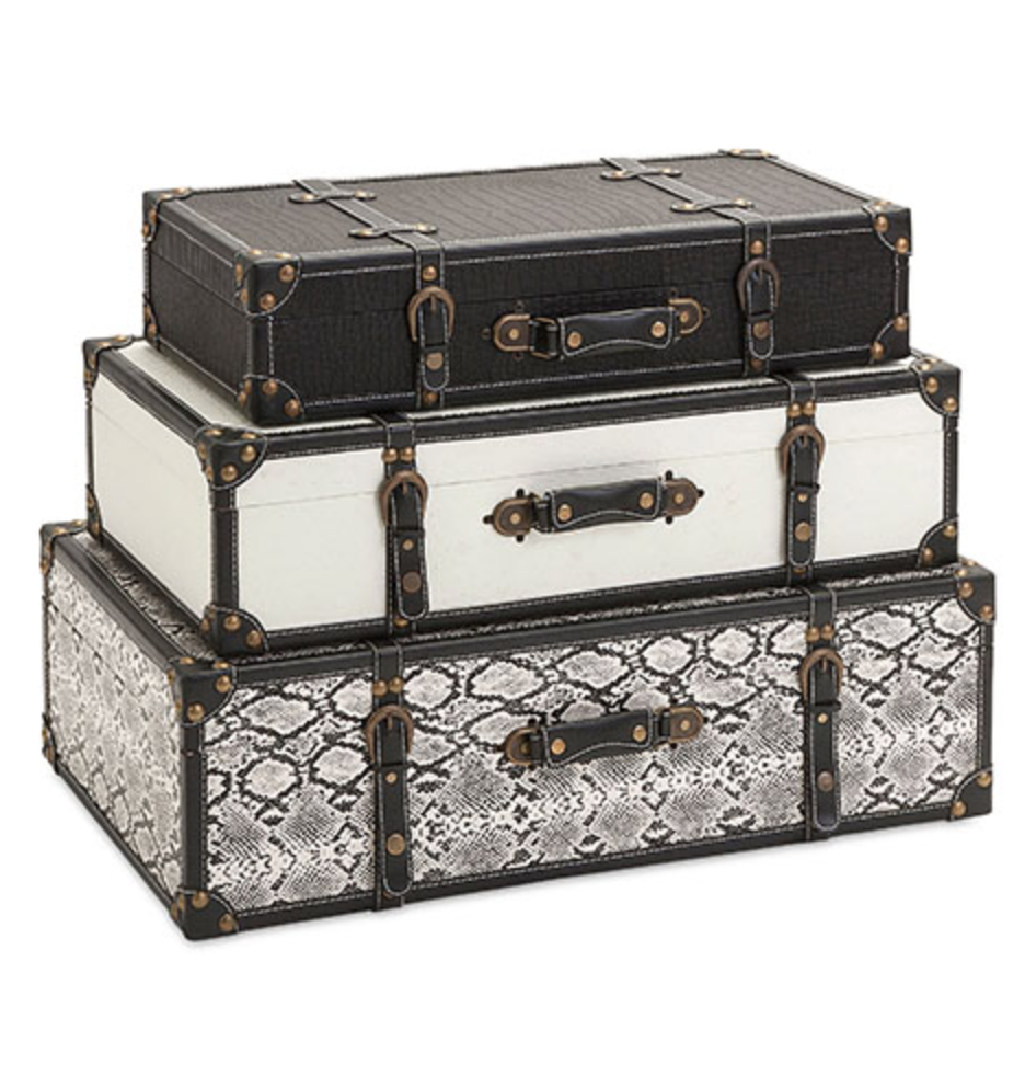 Set of 3 Vintage inspired Black & White Storage Suitcases