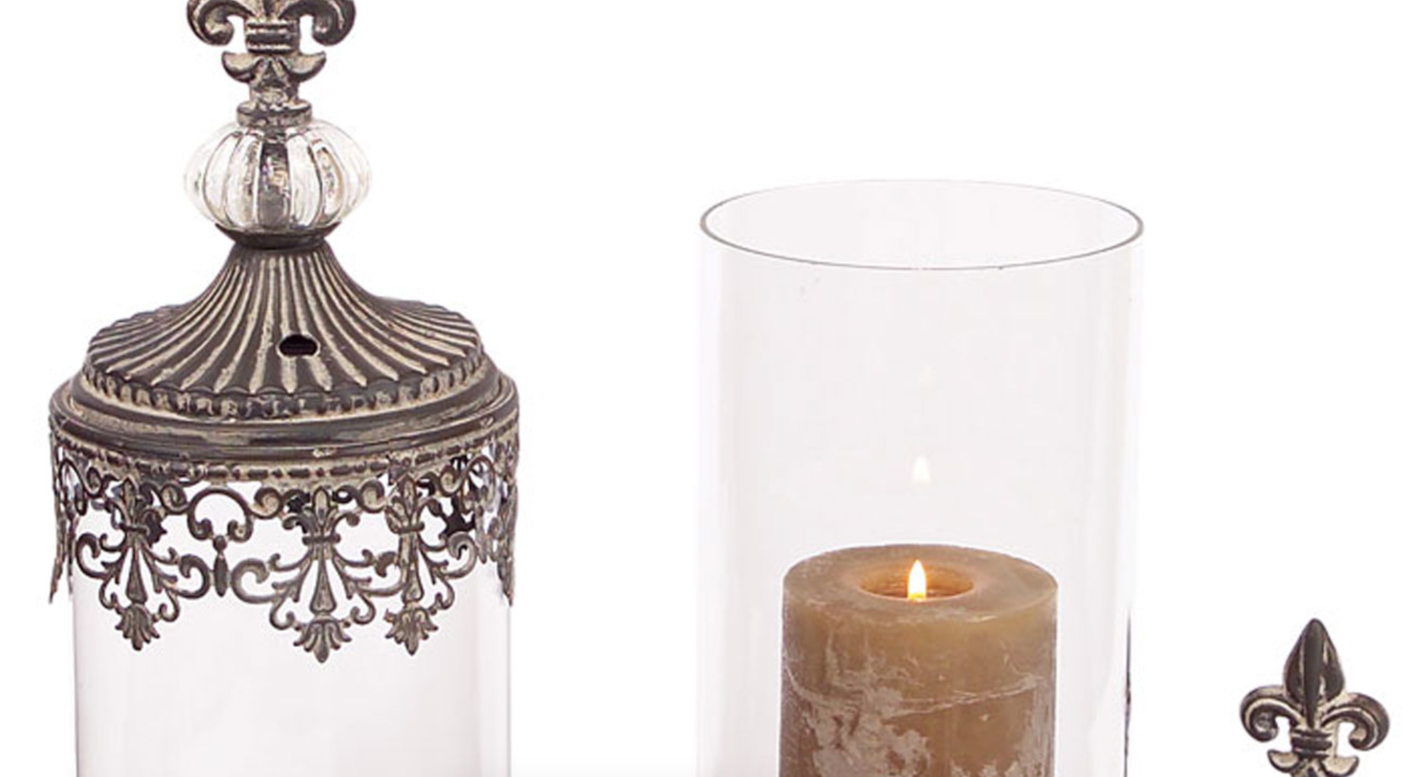 Set of 2 Antique Inspired Glass Candle Holders with Carved Silver Carving