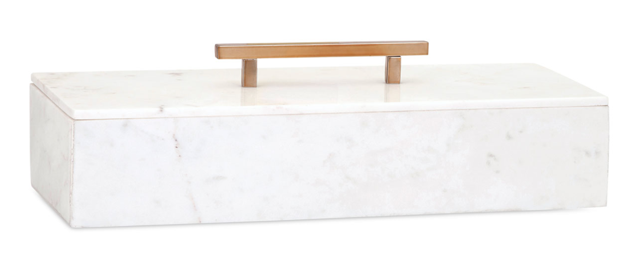 "Rockstar White Marble Box with Metal Handle 15"" Wide"