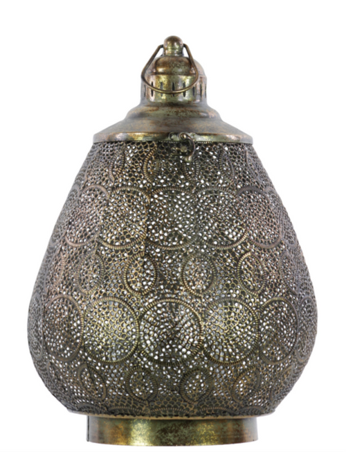 "14"" Large Distressed Metal Cut Out Moroccan Candle Holder"