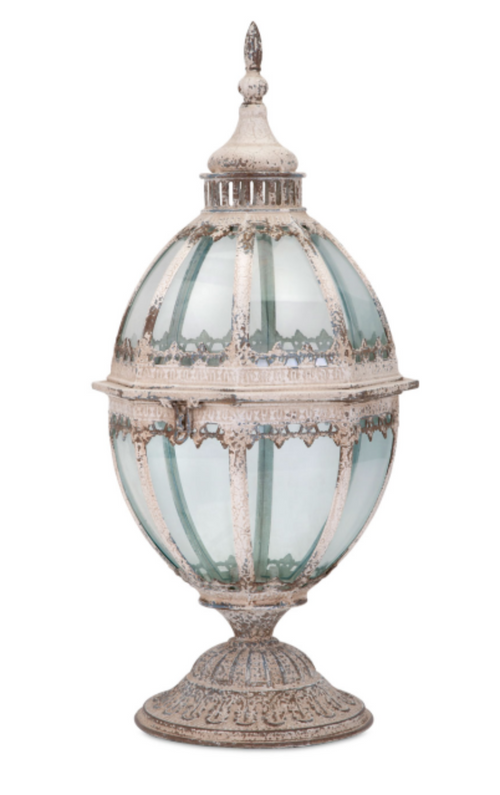 "LARGE 22"" Tainted Teal Glass and Metal Moroccan Candle Lantern"