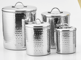Set of 4 Hammered Metal Large Kitchen Canisters