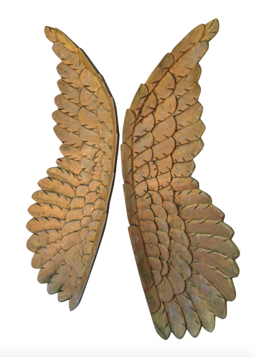 Pair of Large Wooden Vintage Angel Wings (One of a Kind)